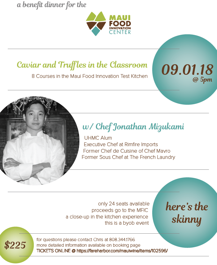 A Benefit Dinner for the Maui Food Innovation Center | MauiWine